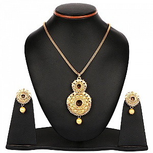 Yellow Stone & Yellow Synthetic Pearl Gold Plated Pendant Se