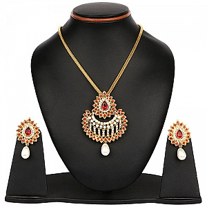 White Stone, Red Stone & White Synthetic Pearl Gold Plated P
