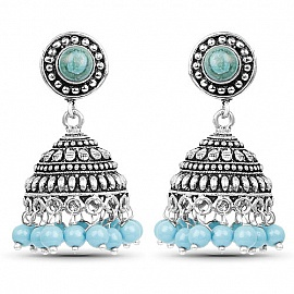 Br Jhumki Earrings With Sky Blue Colored Beads