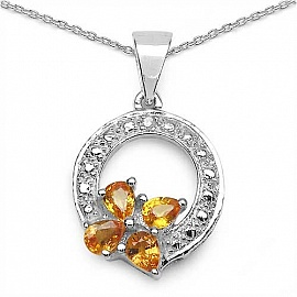 Buy orange color pendants online at jewellery store johareez 081ctw orange sapphire diamond 925 sterling silver pendant aloadofball Gallery