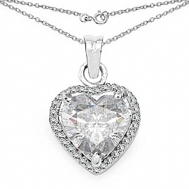 6.62CTW White Cubic Zirconia .925 Sterling Silver Heart Shap