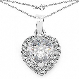 3.64CTW White Cubic Zirconia .925 Sterling Silver Heart Shap