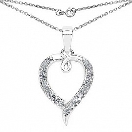 0.23CTW White Cubic Zirconia .925 Sterling Silver Heart Shap