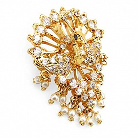 Lovely Gleam Touch 9.80 Grams White Cubic Zirconia, White Synthetic Pearl U0026 Blue  Glass Enamel Gold Plated Brass Peacock Shape Brooch