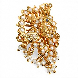 Gleam Touch 8.60 Grams White Synthetic Pearl U0026 Violet Glass With Enamel  Gold Plated Brass Peacock Shape Brooch
