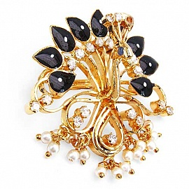 Gleam Touch 9.40 Grams White Cubic Zirconia U0026 White Synthetic Pearl Black U0026  White Enamel Gold Plated Brass Peacock Shape Brooch