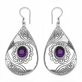 3 60ctw Genuine Amethyst 925 Sterling Silver Earrings