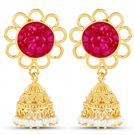af0b6fb1669 Earrings - Gold Plated Red Drusy Studded Ethnic Pearl Drop Jhumka for W