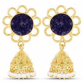 9060ae6af Earrings - Gold Plated Blue Drusy Studded Ethnic Pearl Drop Jhumka for
