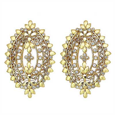 25.60 Grams Gold Plated Studs Set in American Diamonds