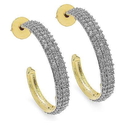 8.80 Grams American Diamond Gold Plated Earrings