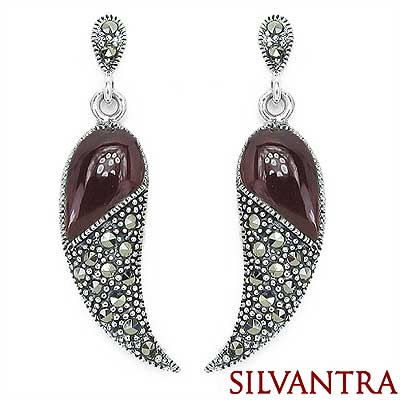 7.50 Grams Red Onyx & Marcasite .925 Sterling Silver Earring