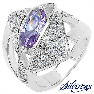 12.90 Grams Purple & White Cubic Zircon .925 Sterling Silver Ri