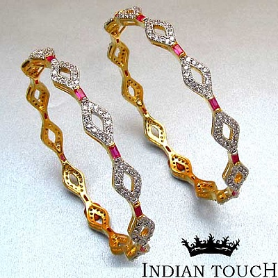25.90 Grams Ruby & White Cubic Zirconia Gold Plated Brass Ba