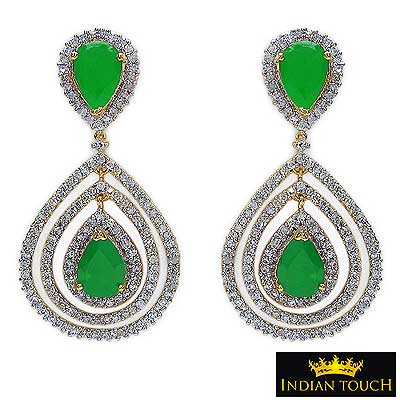 21.80 Grams Green Glass & White Cubic Zircon Two Tone Plated