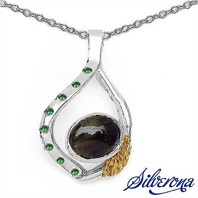 10.80 Grams Smoky Topaz & Emerald .925 Sterling Silver Penda