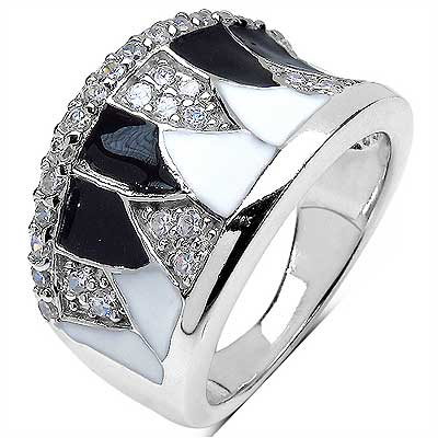 9.00 Grams White Cubic Zirconia .925 Sterling Silver Black E