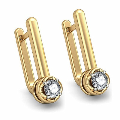 Diamond Earrings in 18K Yellow Gold (4.000 gms) with Diamond