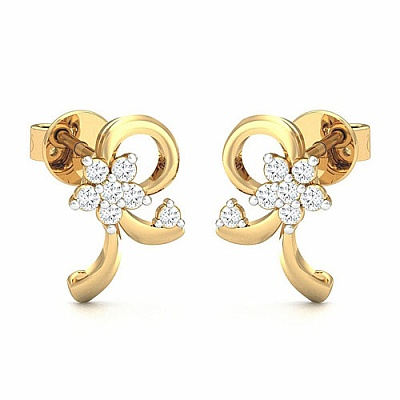 Diamond Earrings in 18K Yellow Gold (2.000 gms) with Diamond