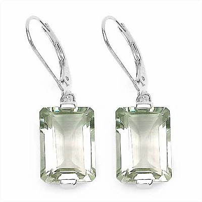 12.40CTW Genuine Green Amethyst .925 Sterling Silver Earring