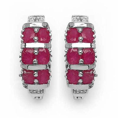 3.02CTW Genuine Glass Filled Ruby & White Diamond .925 Sterl