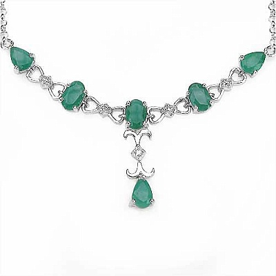 2.56CTW Genuine Emerald & Diamond .925 Sterling Silver Necklace