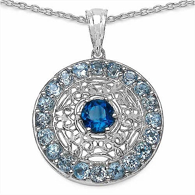 3.50CTW Genuine London Blue Topaz & Blue Topaz.925 Sterling