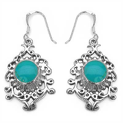 7.76 Grams Turquoise Enamel .925 Sterling Silver Earrings