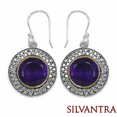 11.80 Grams Amethyst & White Cubic Zircon Silver & Copper Ea