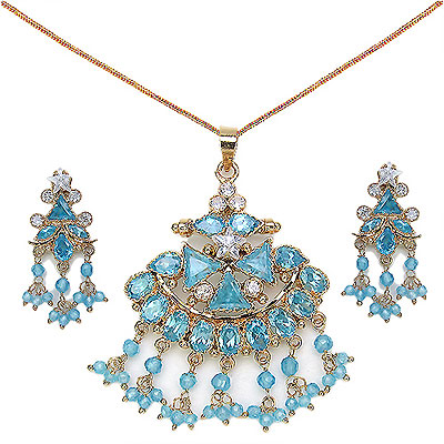 26.10 Grams Blue & White Cubic Zircon Pendant Sets