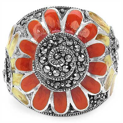 9.70 Grams Marcasite .925 Sterling Silver Orange & Brown Ena